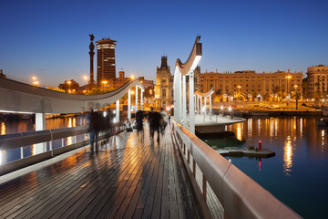Rambla del Mar over Port Vell in Barcelona at Night