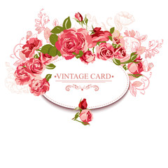 Vintage Floral Card with Roses