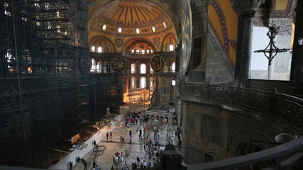 Tourist Visiting Hagia Sophia Church Mosque (Aya Sofya)