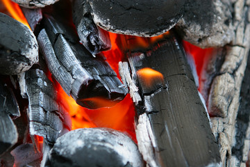 red-hot charcoal, fire, heat hearth