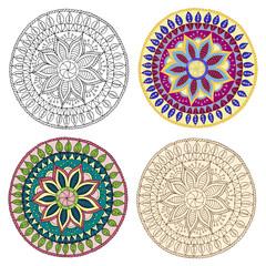 Set of ethnic design elements. Card design template.