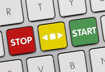 Stop versus start. Keyboard