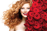 Fashion model girl with blowing red permed hair poster