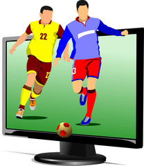 Background with Flat computer monitor with soccer player image.
