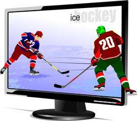 Background with Flat computer monitor with hockey players image.