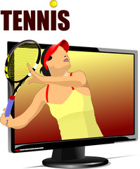 Background with Flat computer monitor with tennis player image.