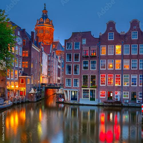 Keuken foto achterwand Amsterdam Amsterdam at night
