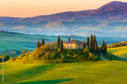 Tuscany landscape at sunrise - 65960475