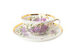 Porcelain teacup and saucer with floral ornament