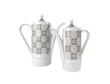 Two coffee pots isolated over white