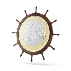 steering ship wheel  with euro coin