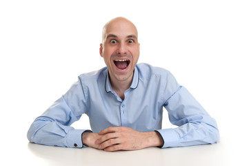 Funny man with crazy surprised look
