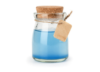 blue magic potion isolated on white