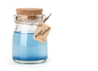 blue magic potion isolated on white