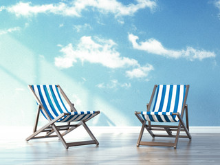 beach chairs in interior with sky on wallpapers