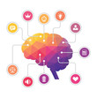 Human Brain - Polygon Infographic Illustration with Icons - 65962434