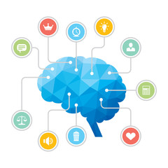 Human Brain - Polygon Infographic Illustration with Icons