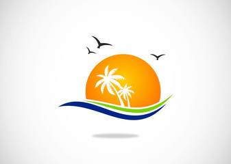 beach holiday resort logo