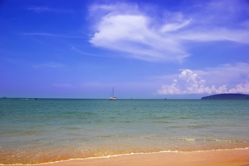Ao Nang beach with blue sky