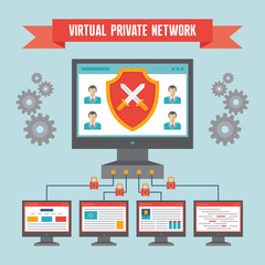 VPN (Virtual Private Network) - Illustration Concept