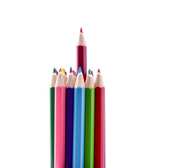 Red pencil stands out of a bunch of colorful pencils