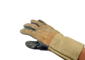 work leather glove in dirty and used condition, isolated on whit
