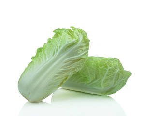 fresh iceberg lettuce salad isolated on white
