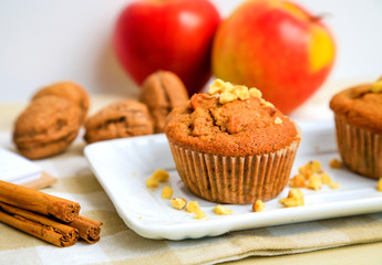 Homemade muffins with apple, chest nut and cinnamon