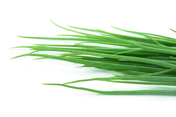 resh spring onions isolated on a white background