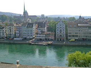 View on the Limmat river and Zurich