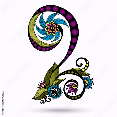 Henna Paisley Mehndi Doodles Design Element. © juliasnegi