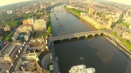 Aerial view of the famous landmark Big Ben and Houses of Parliam
