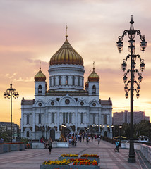 Moscow. Christ the Savior Cathedral at sunset