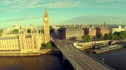 Aerial panorama of central London, UK. Features the River Thames