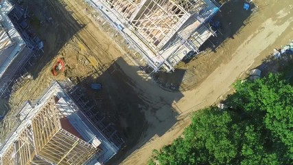 Aerial footage of a building construction site