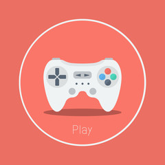 "Play : Vector ""game controller"" icon flat design"