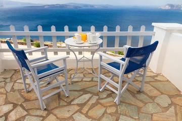 fresh breakfast by seaside