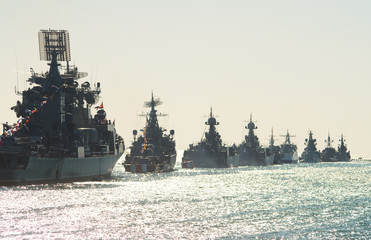 Parade military marine sea fleet of Russia