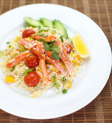 Asian style fried rice with crab and vegetable