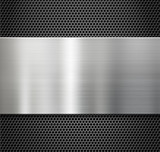 steel metal plate over comb grate background poster