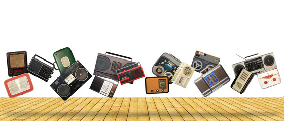 Dance retro recorders, audio system, collage of music