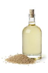 Rice bran oil in a bottle