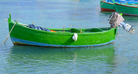 fishing rowboats called gozzo port of Polignano, Apulia Italy