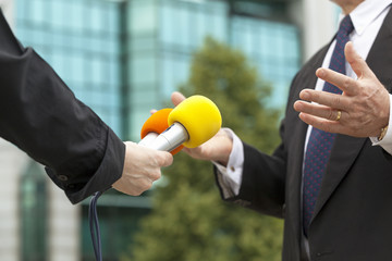 Interviewing businessman
