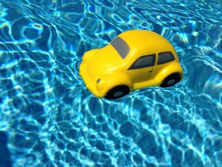 Floating yellow car