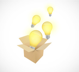 box and light bulbs illustration design