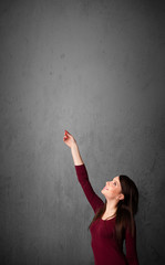 Woman gesturing with copy space