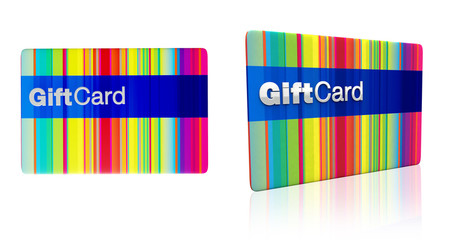 striped rainbow colours gift card with silver emboss
