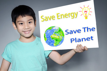 Portrait of Asian child with Eco concept