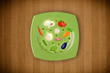 Colorful plate with hand drawn icons, symbols, vegetables and fr